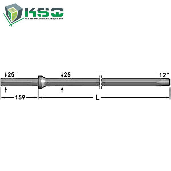 12° Hex Tapered Drill Rod Shank with CNC milling 25 mm x 159 mm