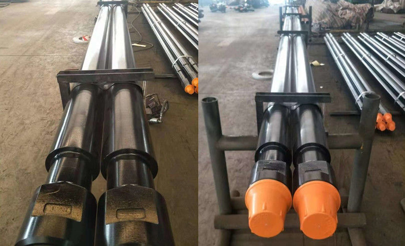 Oil / Gas Well DTH Drilling Tools Threaded Steel Rod Pipe With Wrench Flat Length 1000mm - 3000mm