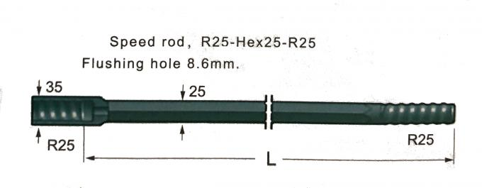 Mining Operations Carbide Drill Rod / Threaded Extension Rod Model R25