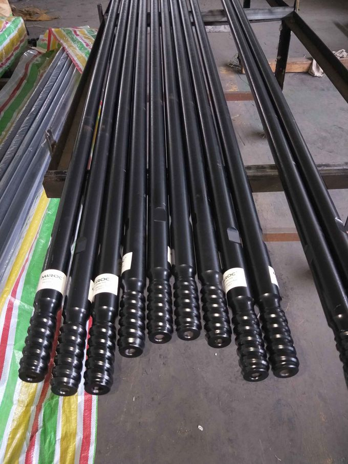 Threaded Drill Extension Rod T45 Thread For Bench Drilling / Long Hole Drilling